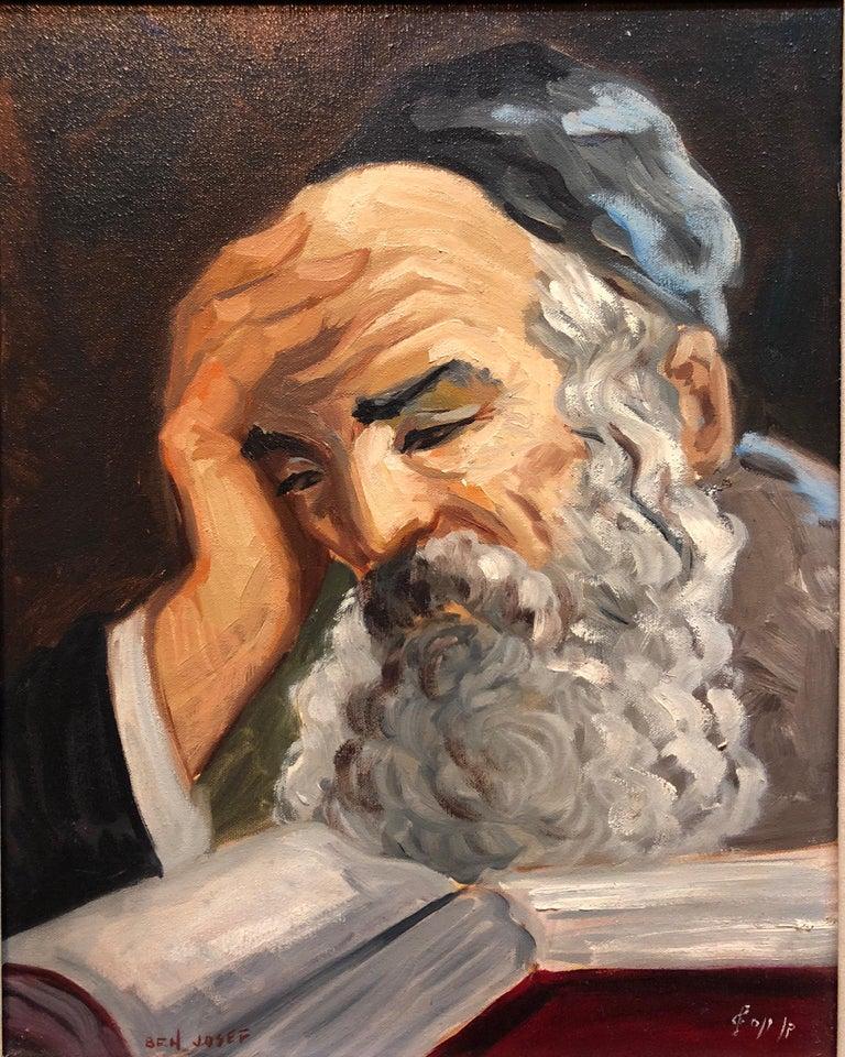 Portrait of a Rabbi Israeli judaica Oil Painting For Sale 3