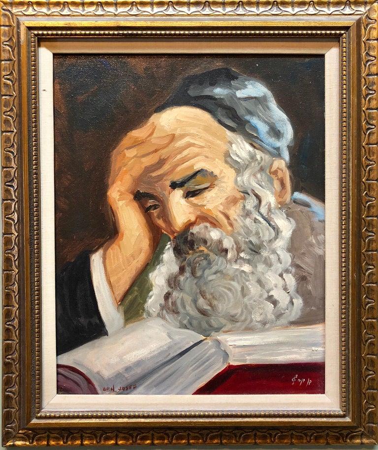 Nicky Imber Portrait Painting - Portrait of a Rabbi Israeli judaica Oil Painting