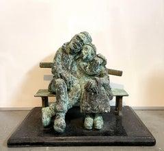 Heavy Bronze Sculpture Austrian Israeli judaica Jewish Couple Bench Nicky Imber