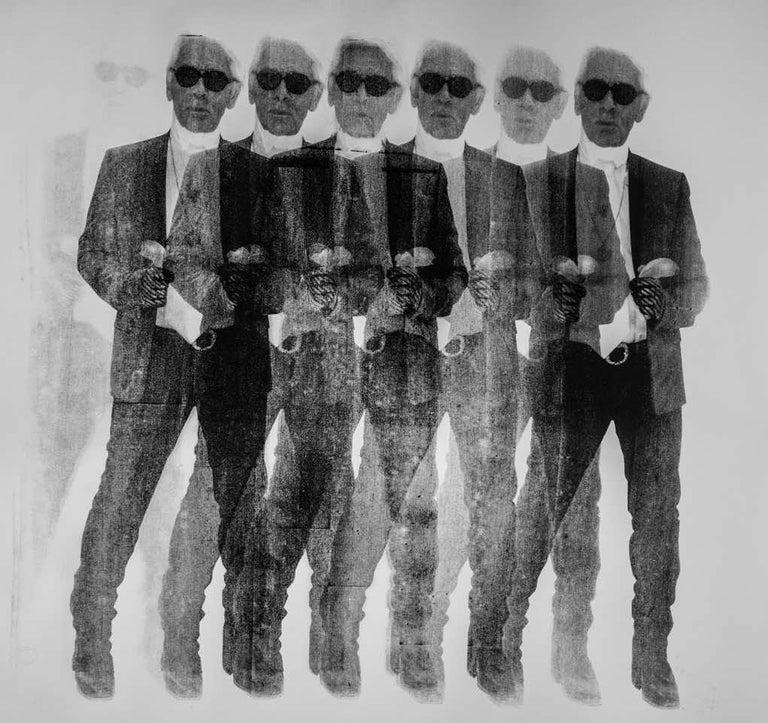 Niclas Castello Portrait Painting - Shooting Karl (Black & White) x7 - Karl Lagerfeld, Contemporary, Pop Art, 21thC