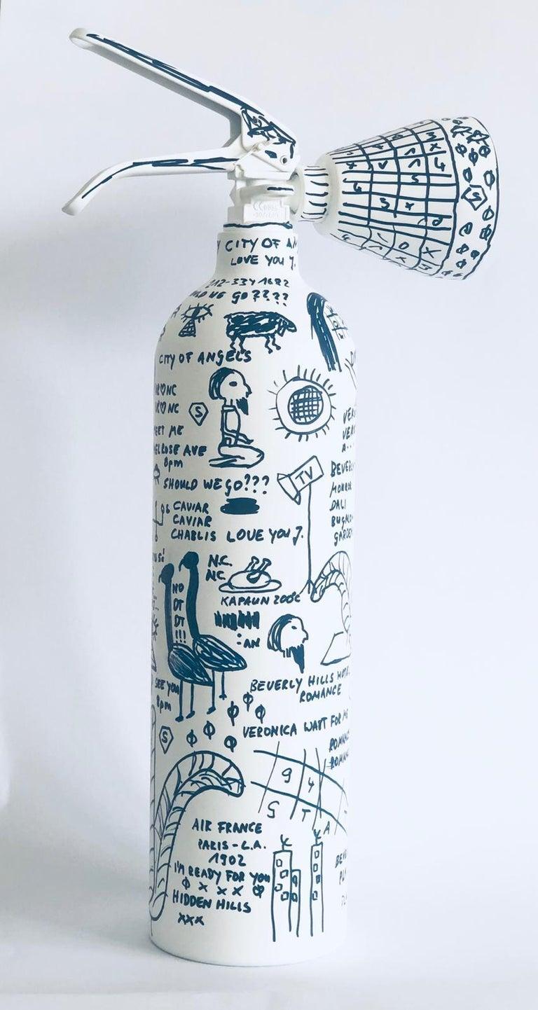 White Fire Extinguisher - Sculpture by Niclas Castello