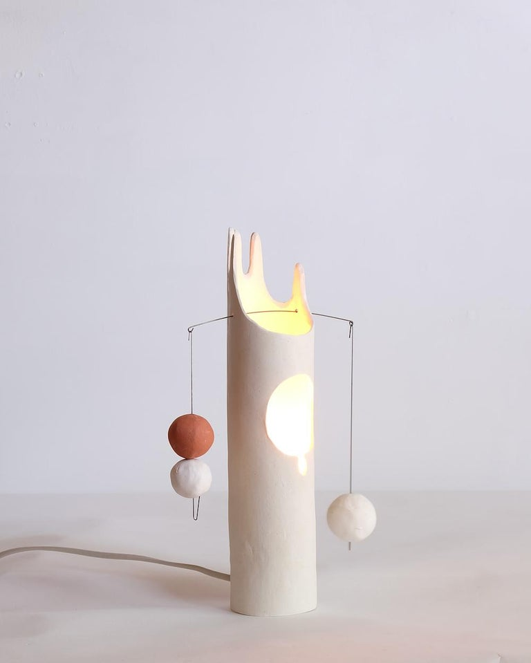 Nico Lamp, Sculptural Contemporary Hand-Built Ceramic Table Lamp in Matte White For Sale 3