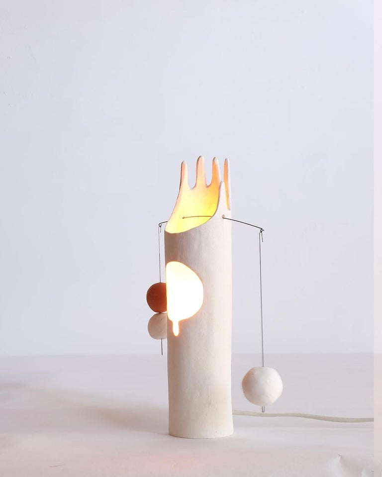 Nico Lamp, Sculptural Contemporary Hand-Built Ceramic Table Lamp in Matte White For Sale 4