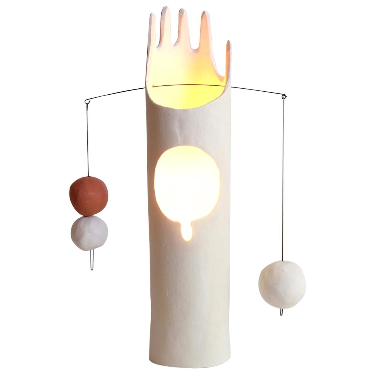 Nico Lamp, Sculptural Contemporary Hand-Built Ceramic Table Lamp in Matte White