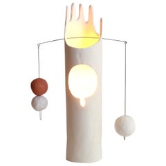 Nico Lamp, Sculptural Contemporary Hand-Built Ceramic Table Lamp in Matte White