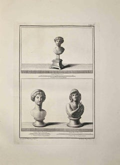 Ancient Roman Busts - Etching by Nicola Billy - Late 18 Century