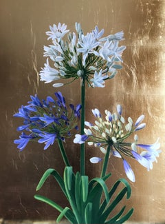 Agapanthus on Gold.  Contemporary Mixed Media Floral Painting