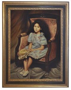 Child on Armchair - Nicola del basso Oil on Canvas Italian Figurative Painting
