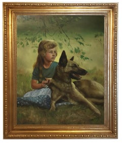 CHILD WITH A DOG - German School -  Oil On Canvas Italian Figurative Painting