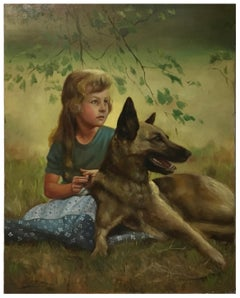 CHILD WITH A DOG - Italian figurative oil on canvas painting, Nicola Del Basso
