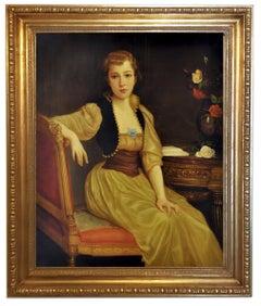 Lady's Portrait - Nicola Del Basso Oil on Canvas Italian Figurative Painting