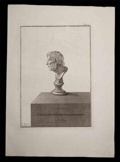 Ancient Roman Bust - Original Etching by Nicola Fiorillo - 18th Century