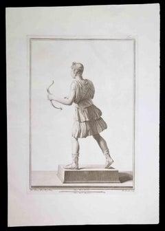 Ancient Roman Statue - Original Etching by Nicola Fiorillo - 18th Century
