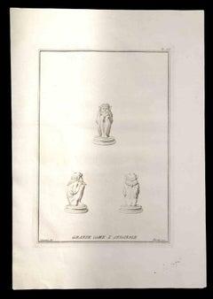 Ancient Roman Statues - Original Etching by Nicola Fiorillo - 18th Century