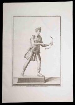 Archer, Ancient Roman Statue- Original Etching by Nicola Fiorillo - 18th Century