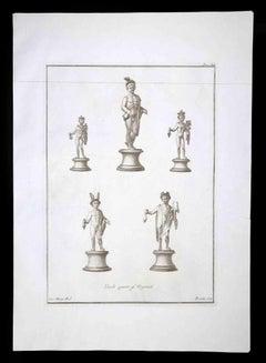 Hermes, Ancient Roman Statue- Original Etching by Nicola Fiorillo - 18th Century