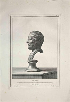 Profile of Ancient Roman Bust - Etching by Nicola Fiorillo - Late 18 Century