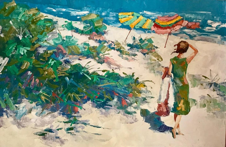 Nicola Simbari afteroil painting of figure in Mediterranean landscape.  This oil painting on canvas board in post-impressionistic style depicts a female figure in a sunny Mediterranean landscape. The painting is signed, numbered and titled,