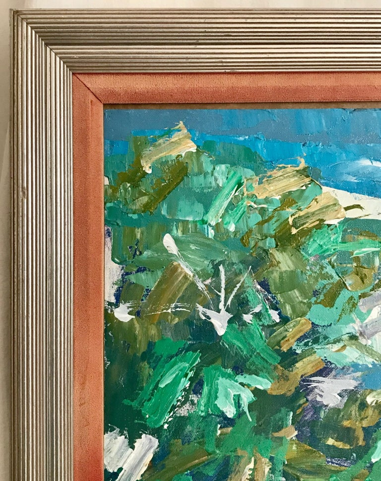 Expressionist Nicola Simbari after Oil Painting of Figure in Mediterranean Landscape For Sale