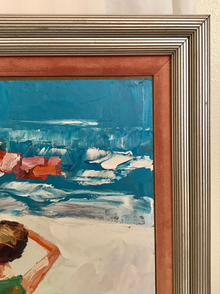 Italian Nicola Simbari after Oil Painting of Figure in Mediterranean Landscape For Sale
