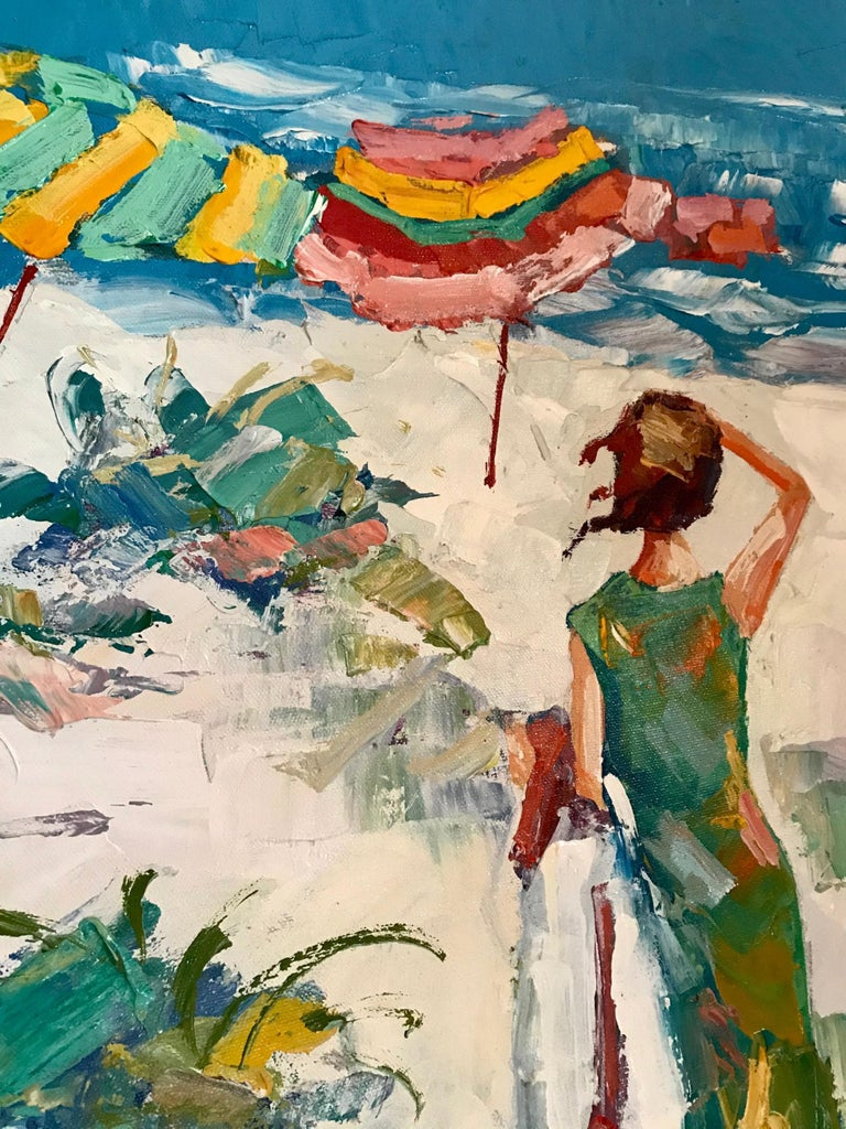 Nicola Simbari after Oil Painting of Figure in Mediterranean Landscape In Excellent Condition For Sale In Vero Beach, FL