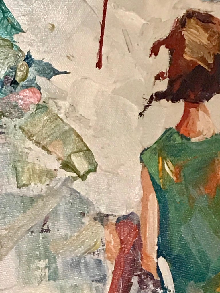 Late 20th Century Nicola Simbari after Oil Painting of Figure in Mediterranean Landscape For Sale