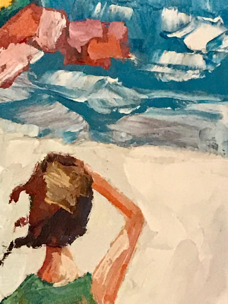 Canvas Nicola Simbari after Oil Painting of Figure in Mediterranean Landscape For Sale