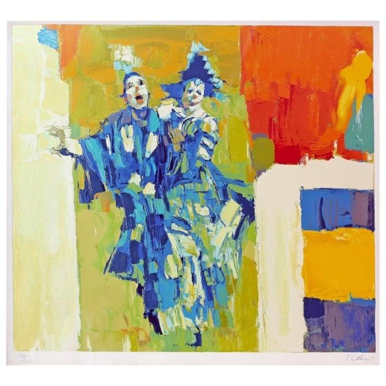 "Nicola Simbari ""Deux Clowns"" Silkscreen Print, Signed For Sale"