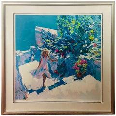 "Nicola Simbari Limited Edition Seriograph Print titled ""TAORMINA, Framed"