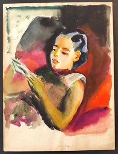 Woman - Original Mixed Media by Nicola Simbari - 1964 ca.