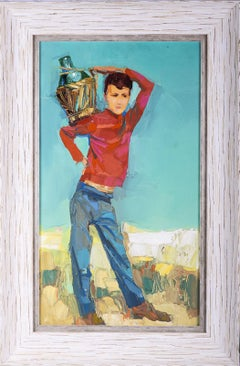Nicola Simbari Original Oil Painting Boy with Wine Jug COA All Offers Considered