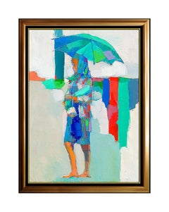 NICOLA SIMBARI Original OIL PAINTING ON CANVAS Female Portrait Signed Artwork