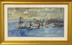 Pier and Docks-Original Gouache and Wash on Paper, Signed and Dated by Artist