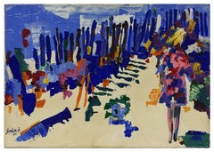 Torvaianica - Roman Seaside - Original Oil Painting by Nicola Simbari - 1961