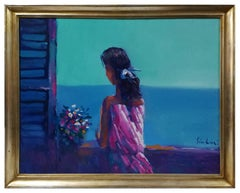 Woman at the window - Original Oil Paint by Nicola Simbari - 1960s