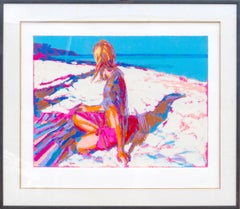 Aegian, Large Framed Beach Silkscreen by Simbari