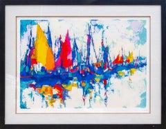 Blue Marina, Large Framed Silkscreen by Simbari