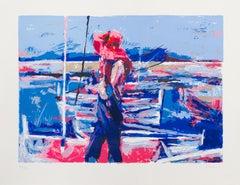 Girl at the Docks, Silkscreen by Nicola Simbari