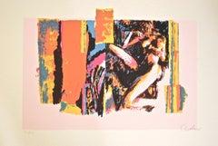 Nude Lying Model - Original Screen Print by Nicola Simbari - 1976