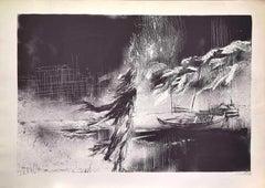 On the beach - Original Lithograph by Nicola Simbari - 1977