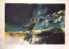 On the Beach - Original Lithograph by Nicola Simbari - 1977