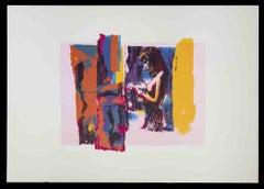 Pink Nude - Original Screen Print by Nicola Simbari - 1976