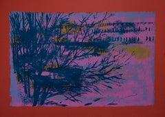 Red/Violet Landscape - Original Lithograph by Nicola Simbari - 1976