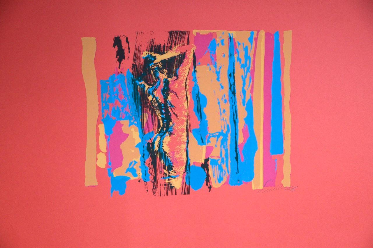 Rounded Nude in Red - Original Screen Print by Nicola Simbari - 1976