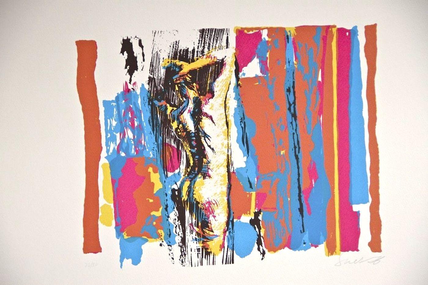 Rounded Nude in White - Original Screen Print by Nicola Simbari - 1976