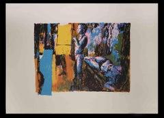Two Models - Original Screen Print  by Nicola Simbari - 1976