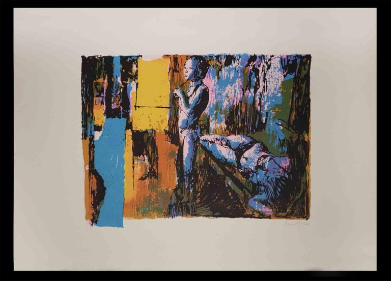 Two Models is an original screen print realized by Nicola Simbari in 1976.  Hand signed and dated on the lower right margin.  Numbered on the lower left. Edition of 50.  Nicola Simbari (San Lucido, 1927) was an Italian painter. Simbari's works are