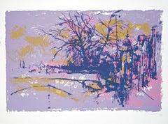White\Violet Landscape - Original Silkscreen by Nicola Simbari