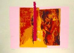 Woman in Pink - Original Lithograph by Nicola Simbari - 1976