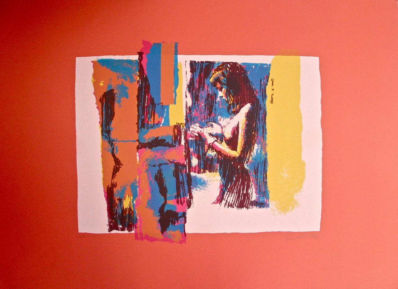 Woman in Red - Original Screen Print by Nicola Simbari - 1976
